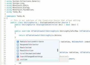 Using code completion in Xamarin Studio